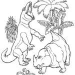 Disegni da colorare dei dinosauri_coppia dinosauri