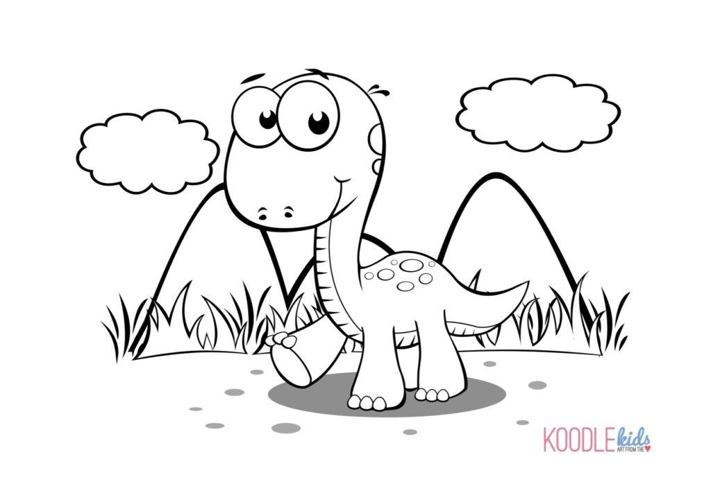 Disegni Da Colorare Dei Dinosauri Cucciolo Di Dinosauro Sull Erba