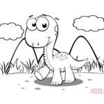 Disegni da colorare dei dinosauri_cucciolo di dinosauro sull'erba