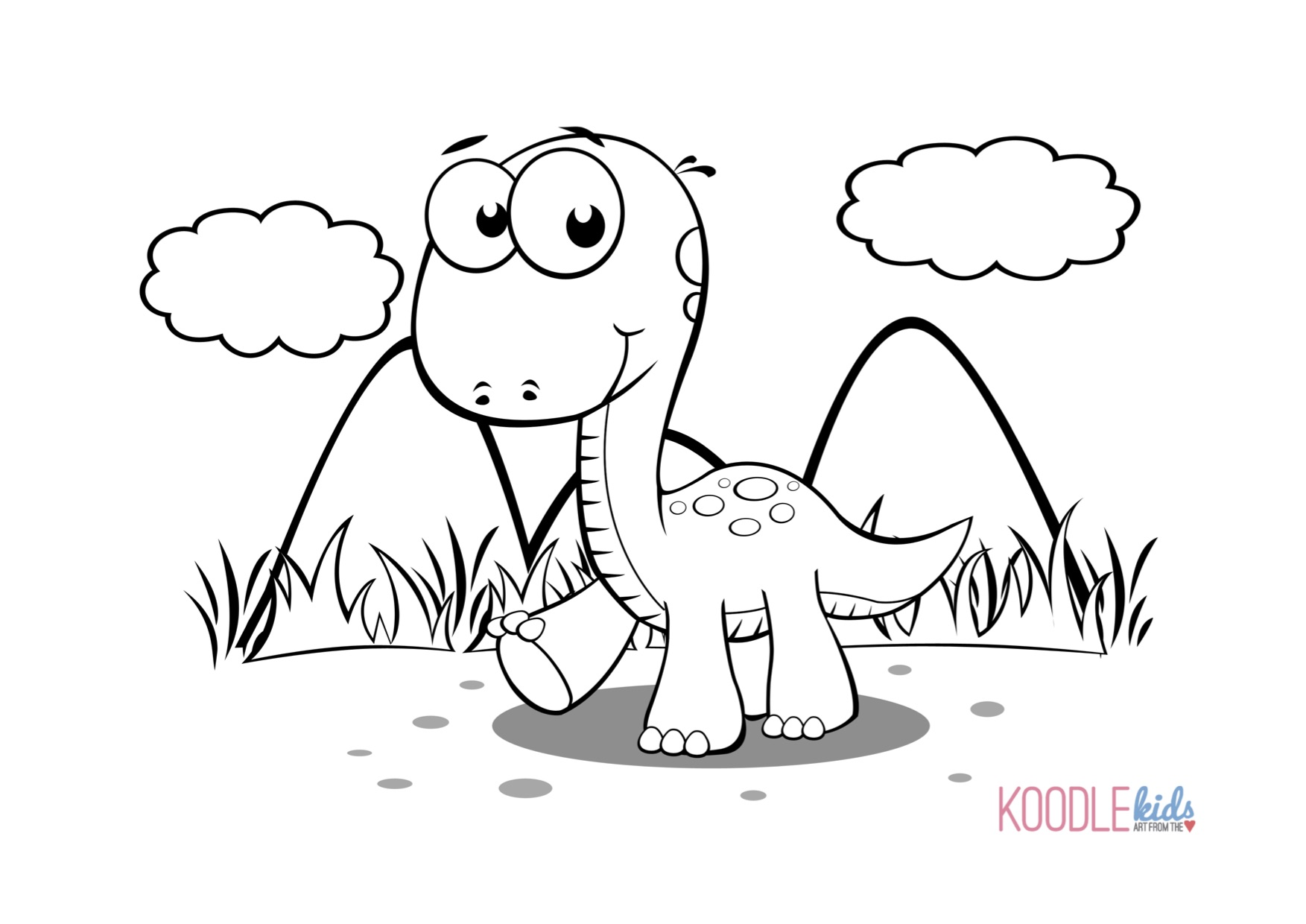 Disegni da colorare dei dinosauri cucciolo di dinosauro - Toddler libro da colorare ...