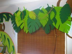 Festone di foglie fai per festa a tema dinosauri fai da te