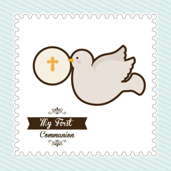 inviti di prima comunione bambina colomba