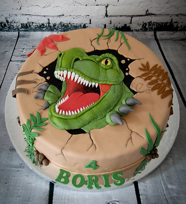 torta T-Rex in pasta di zucchero_ Festa a tema dinosauri fai da te