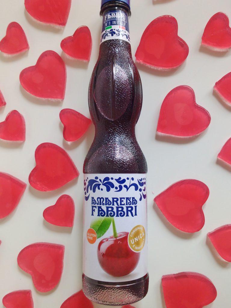 cuoricini di gelatina allo Sciroppo Amarena Fabbri _ bottiglia