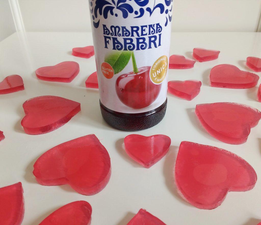 cuoricini di gelatina allo Sciroppo Amarena Fabbri _cuoricini