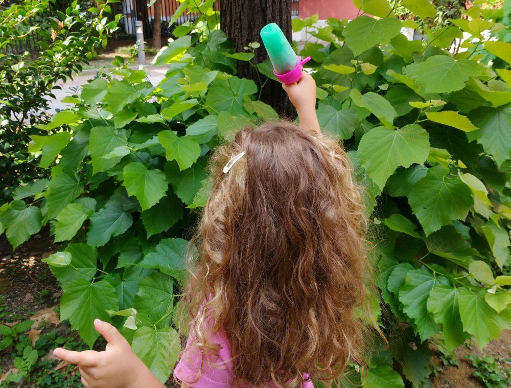 Bambina con ghiaccioli alla menta e fragole fresche per i bambini _ fabbri