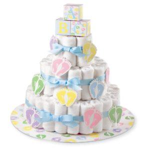 Regali nascita sotto i 30 euro _ Kit per fare torta di pannolini