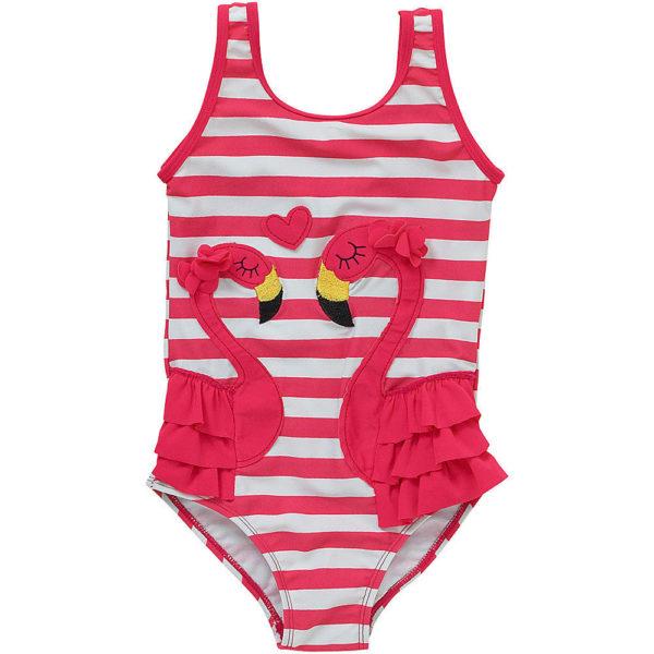 costume intero da bambina con fenicottero rosa
