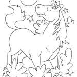Disegni da colorare degli unicorni con fiori e stelle
