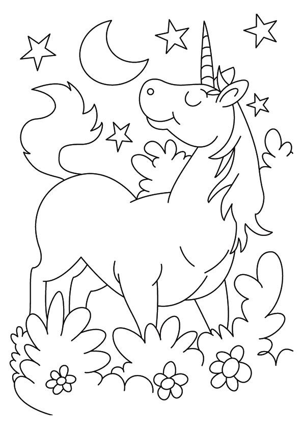 Disegni da colorare degli unicorni con fiori e stelle for Disegni per la casa degli artigiani