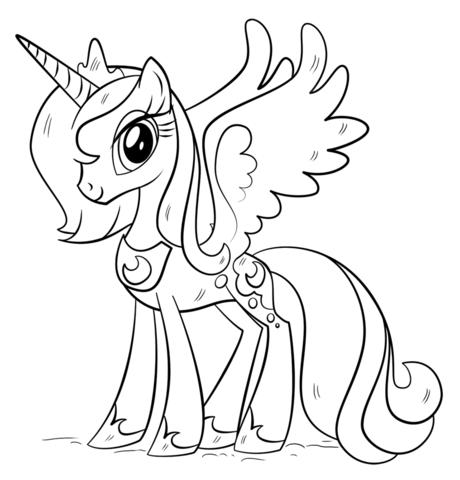 Disegni da colorare degli unicorni – princess Luna