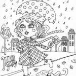 Disegni dell'autunno da colorare e stampare gratis _ bambina sotto la pioggia