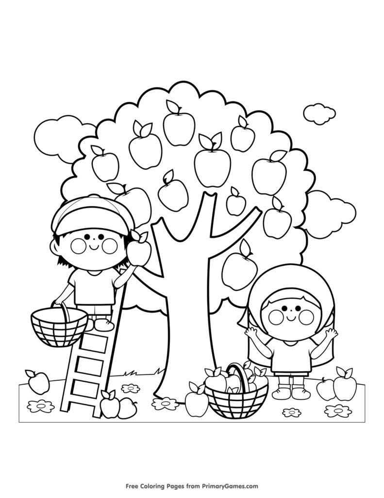Disegni dell'autunno da colorare e stampare gratis _ bambini che raccolgono le mele