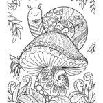 Disegni dell'autunno da colorare e stampare gratis _ fungo e lumache