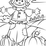Disegni dell'autunno da colorare e stampare gratis _ spaventapasseri con zucche