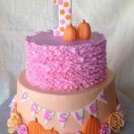 Torte di Halloween per feste di compleanno bambine con zucche e fiorellini