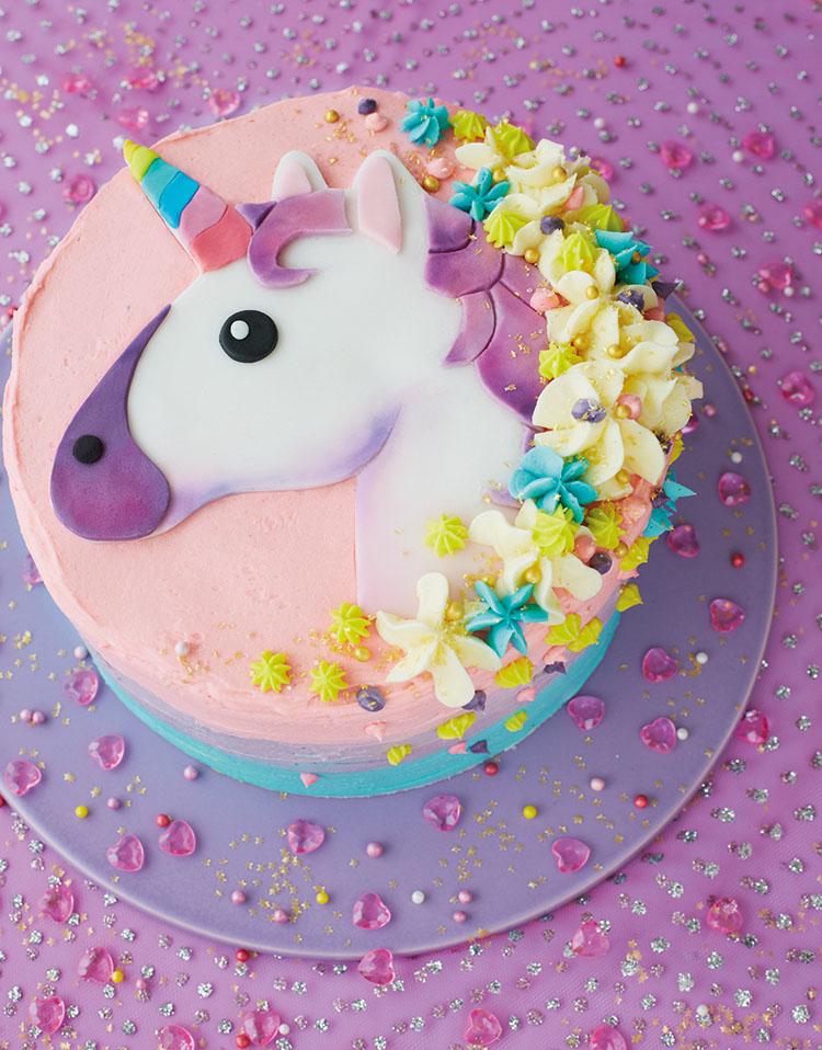 Torte unicorno in 2d per feste di compleanno bambini
