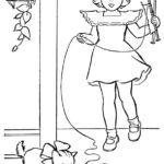 disegni di gatti da colorare e stampare gratis _ bambina con gattino