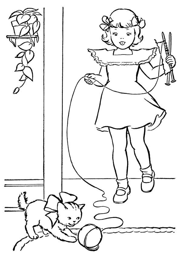 Disegni Di Gatti Da Colorare E Stampare Gratis Bambina Con Gattino