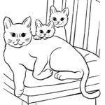 disegni di gatti da colorare e stampare gratis _ gatta con cuccioli
