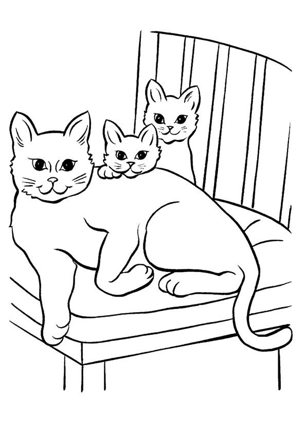 Disegni di gatti da colorare e stampare gratis gatta con for Cani e gatti da stampare e colorare