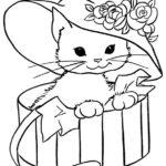 disegni di gatti da colorare e stampare gratis _ gattina con cappello