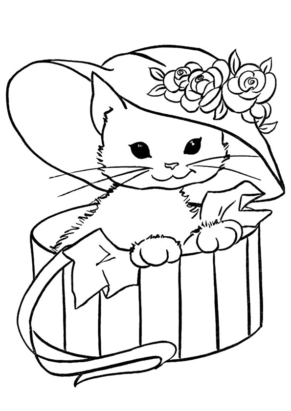 Disegni di gatti da colorare e stampare gratis gattina for Cani e gatti da stampare e colorare