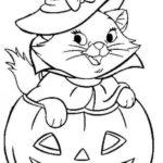 disegni di gatti da colorare e stampare gratis _ gattina halloween