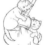 disegni di gatti da colorare e stampare gratis _ gattini che giocano