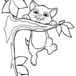 disegni di gatti da colorare e stampare gratis _ gattino su ramo albero