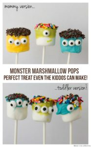 dolci facili di Halloween da fare con i bambini _ mostri di marshmallow