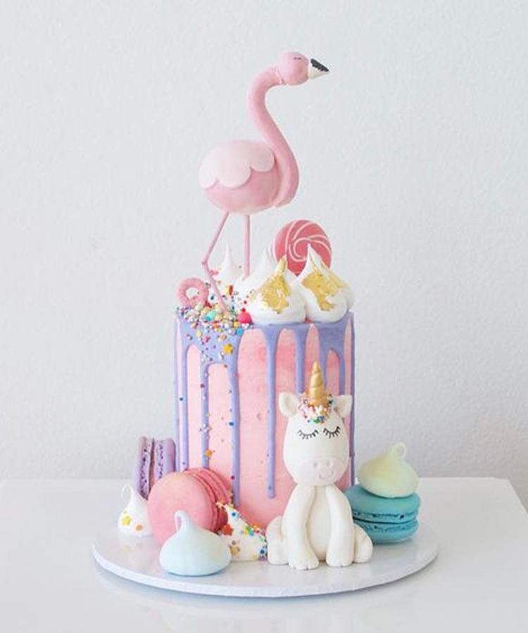 torte unicorno per feste di compleanno_ torta con fenicottero