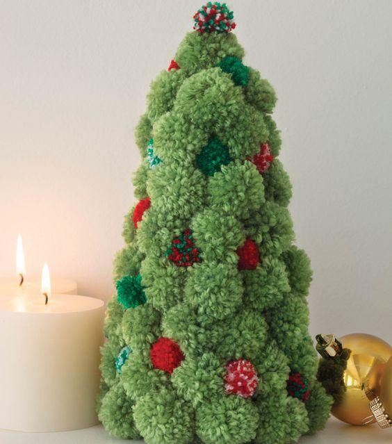 Amato Decorazioni di Natale fai da te con i pompon idee e tutorial  KT67