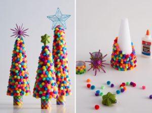 Decorazioni di Natale fai da te con i pompon _ alberi di Natale con pom pom