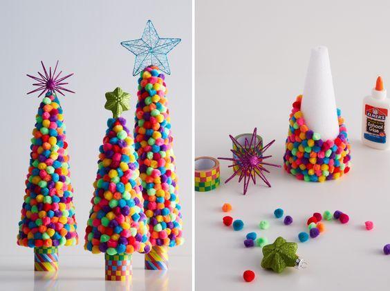 Nice Decorazioni Di Natale Fai Da Te Con I Pompon _ Alberi Di Natale Con Pom Pom