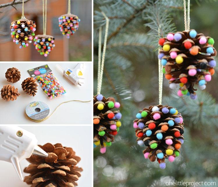 Decorazioni di Natale fai da te con i pom pom_ pigne decorate