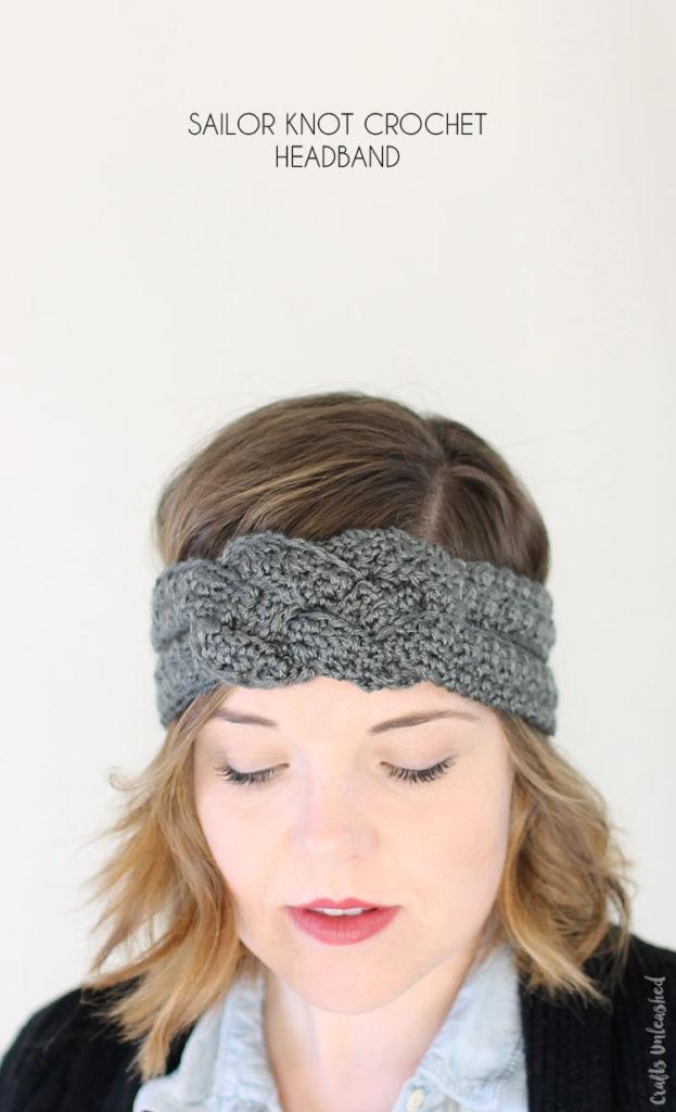 fascia per capelli di lana a uncinetto nodo