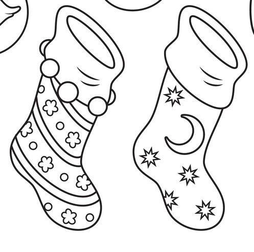 Calze della befana da colorare per bambini utili anche per for Disegni da colorare befana