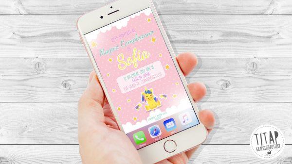 inviti festa compleanno whatsapp unicorno