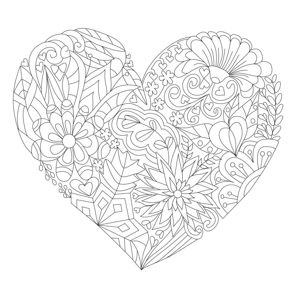 cuore mandala di fiori da colorare