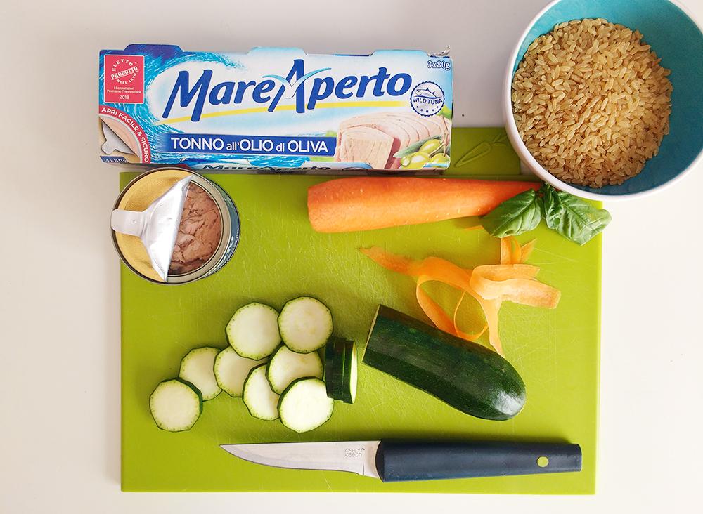 Ingredienti Riso integrale in barattolo con verdure e tonno Mare Aperto