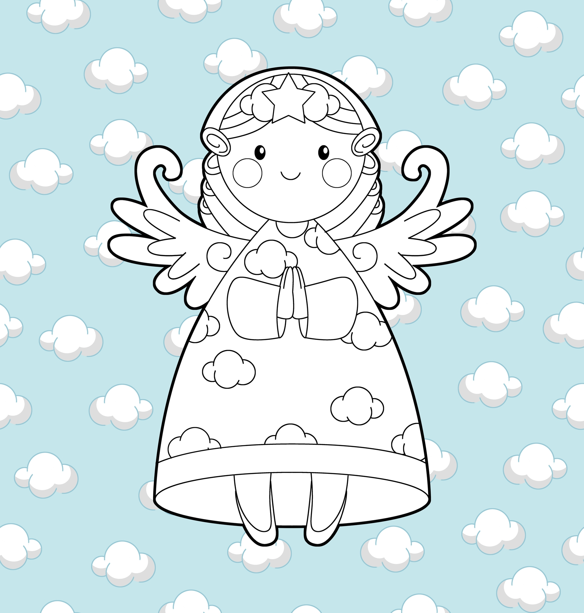 angeli da colorare per Natale