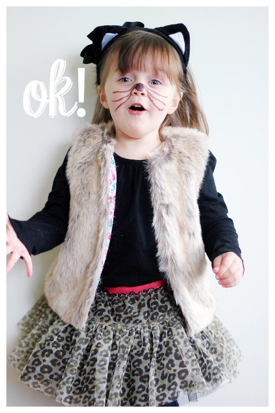 Costume da gattina fai da te _ bambina con gilet pelliccia