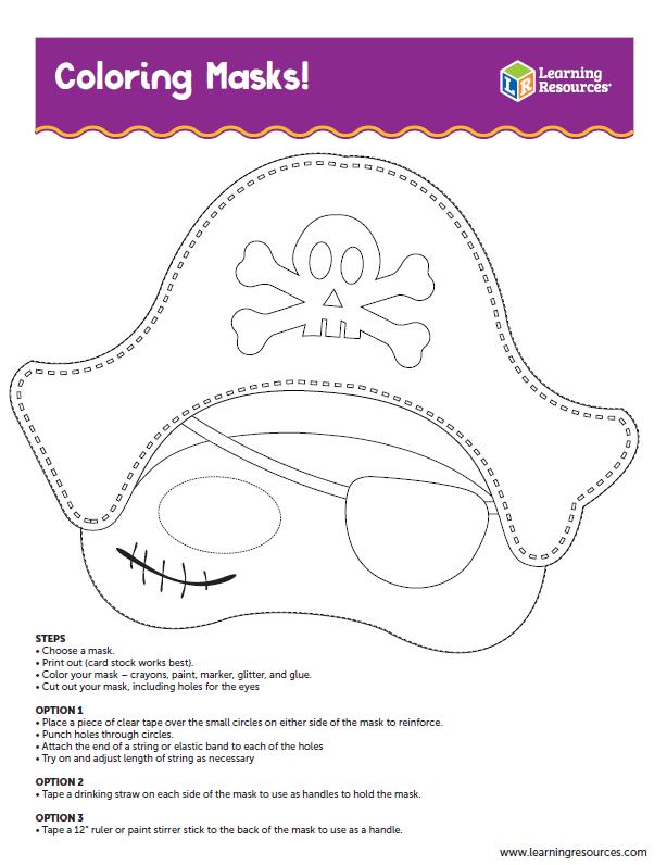maschere di carnevale da colorare pirata