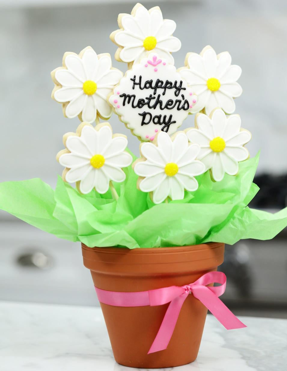 Come fare un bouquet di biscotti per la festa della mamma _ vaso margherite e messaggio