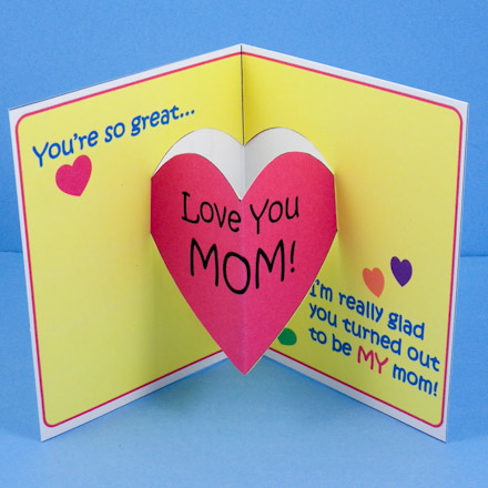 biglietto pop up per la festa della mamma con cuore