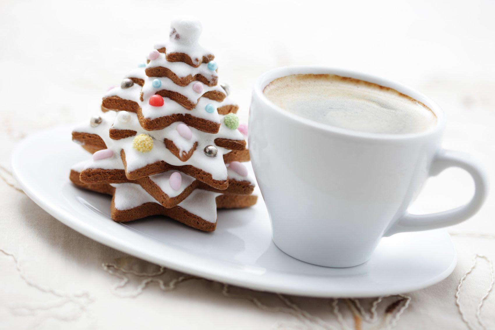 albero di Natale di biscotti per il caffè
