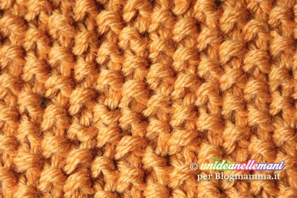 punto grana di riso per fare una sciarpa di lana