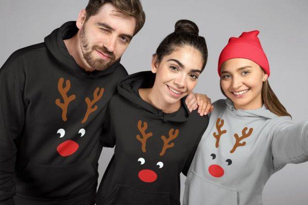 maglioni natalizi uguali per tutta la famiglia felpa di renna