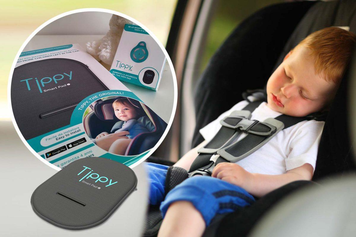 tippy dispositivo anti abbandono _ bambino che dorme in auto